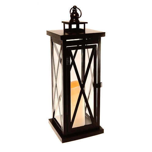 Metal Lantern Black CrissCross Design with Flameless Candle 1ct