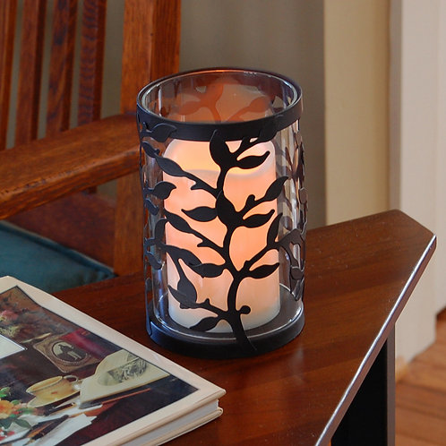 Metal & Glass Lantern Vine Design with Flameless Candle 2ct