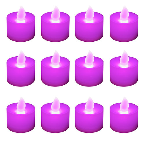Flickering LED Tealights Purple 12ct