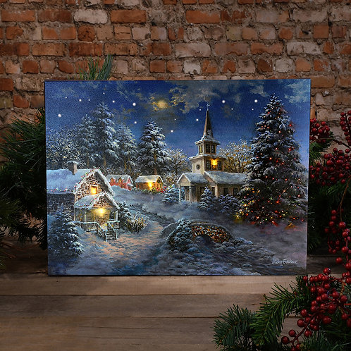 Battery LED Wall Art - Winter Village Lighted Tree w/ Remote Control
