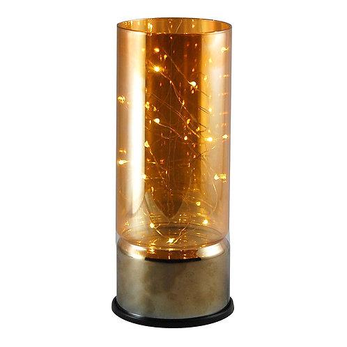 Glass Lantern w/Battery LED Fairy String Lights - Amber