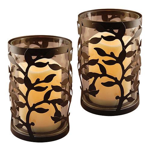 Metal Lantern Glass w/LED Candle - Black Vine (Set of 2)
