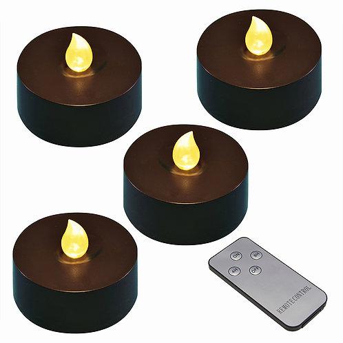 Battery LED Mega Tealights w/RC Timer- Black/Amber 4L