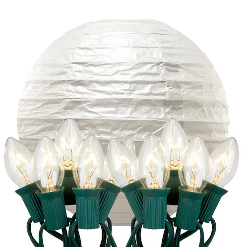 Electric String Lights with White Paper Lanterns Kit 10ct