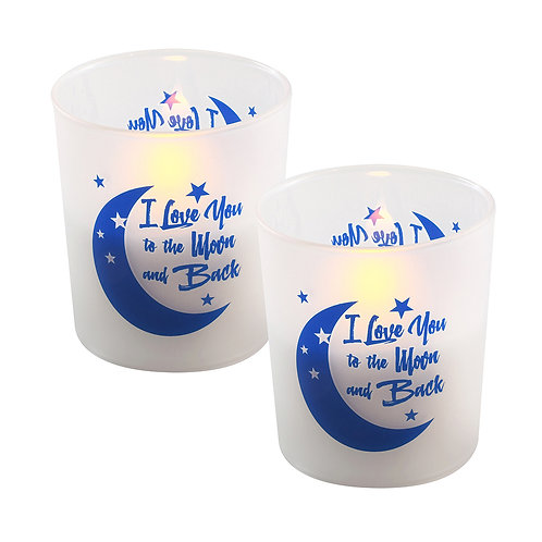 LED Glass Wax Candles - Moon (set of 2)