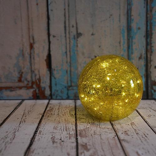 Battery LED Golden Globe Crackle Glass Light w/ String Lights