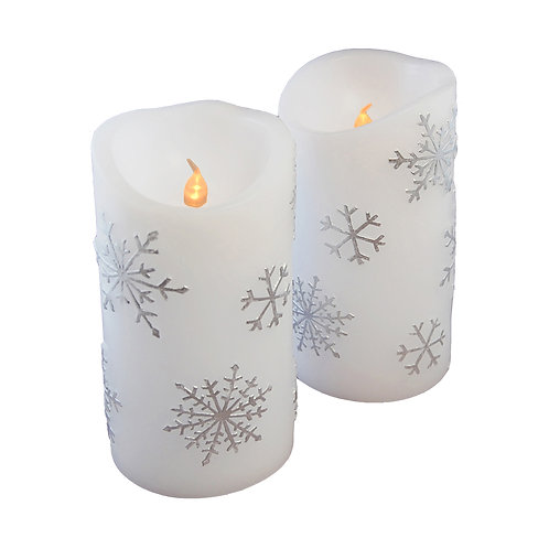 LED Wax Candle Snowflake 2ct