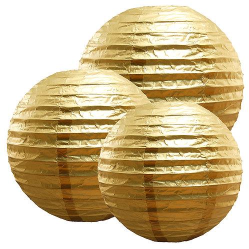 """Paper Lanterns Multi Size (12""""-14""""-16"""") - Metallic Gold 6ct"""