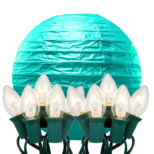 Electric String Lights with Turquoise Paper Lanterns Kit 10ct