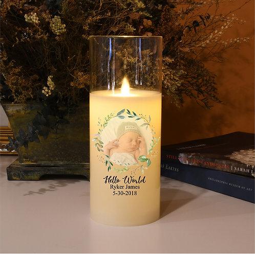 Hello World Custom Baby Candle