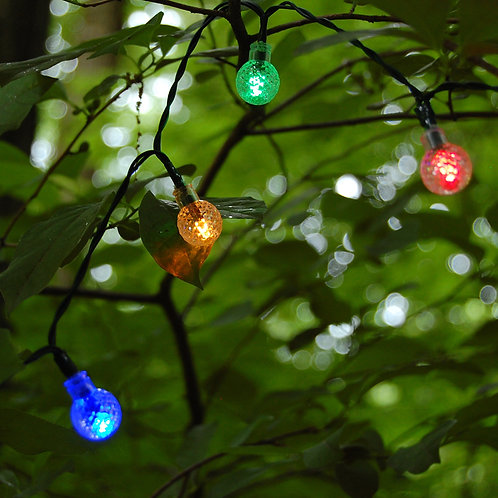 Solar String Lights 30L Faceted Balls – Multi 1ct
