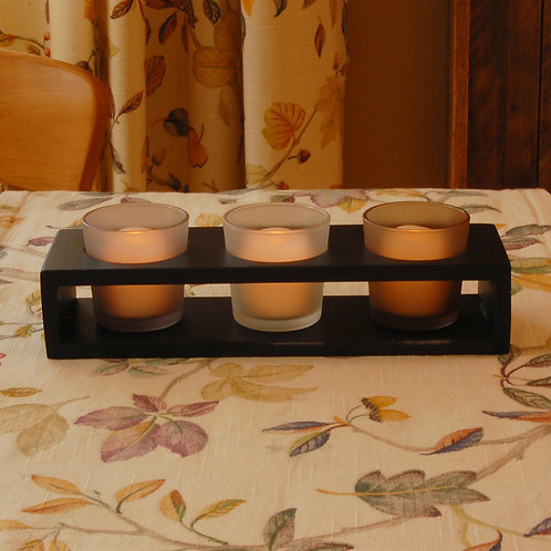 Trio Candle Tray with 3 Glass Votives 1ct