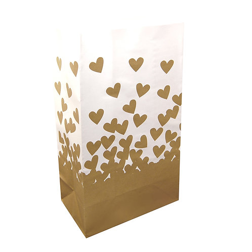 Luminaria Paper Bag - Gold Hearts 24ct