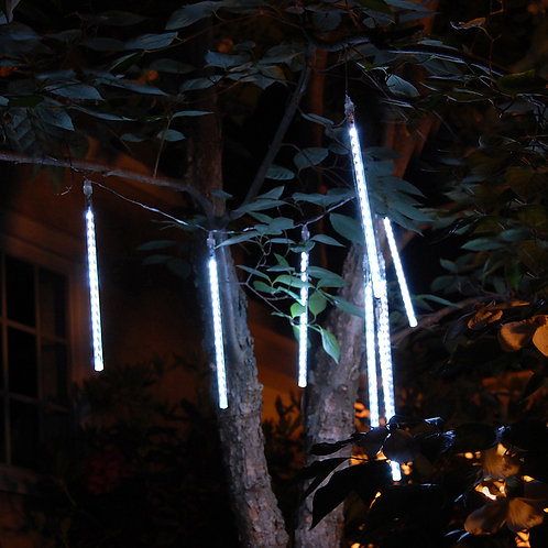 Electric Meteor Rainfall Lights 8 Tubes - White 144L