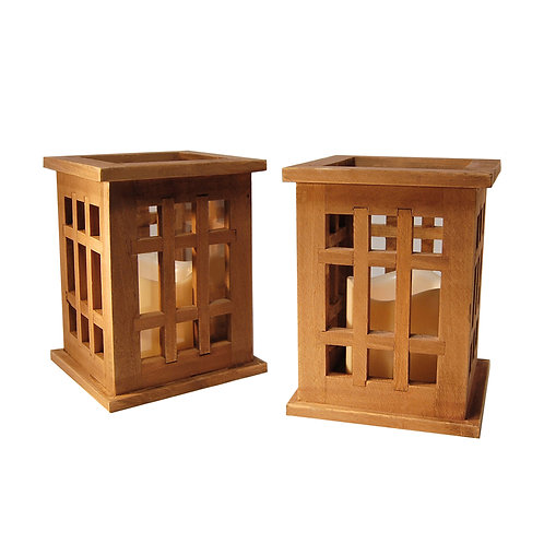 Wooden Lantern/LED - Natural Brown (Set of 2)