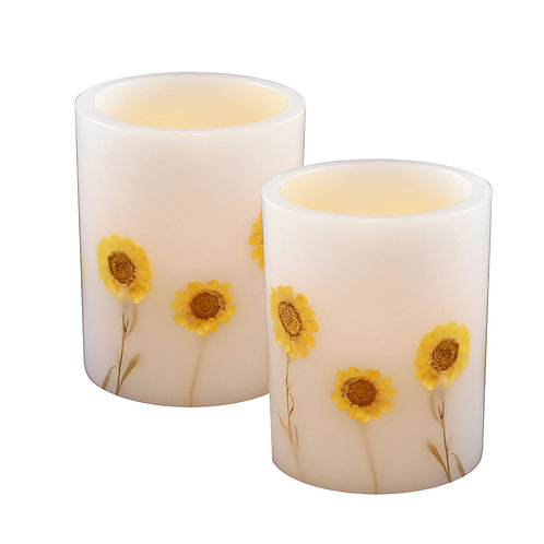 LED Wax Candles - Dried Flowers (set of 2)