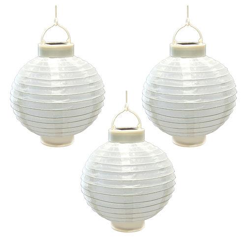 """Solar Nylon Lanterns 8"""" White 3ct"""