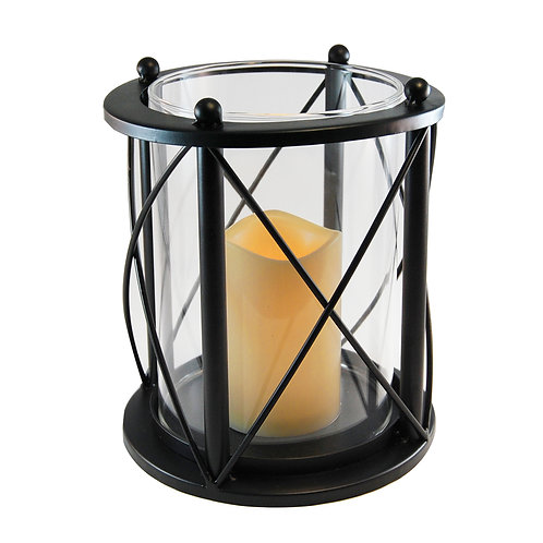 Round CrossCross Metal Lantern with LED Candles 1ct