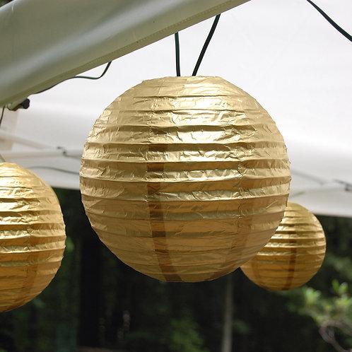 Electric Lights Paper Lantern Kit - Metallic Gold