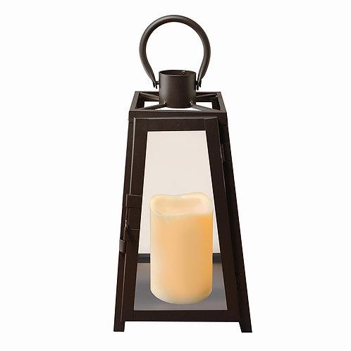 Metal Lantern w/LED Candle - Warm Black Tapered