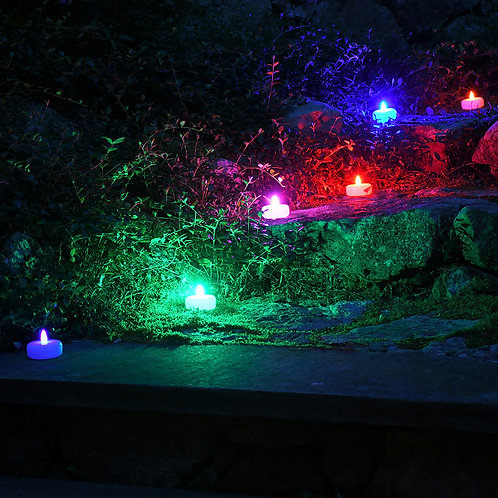 Battery Operated Floating LED Candles - Changing Color 6L
