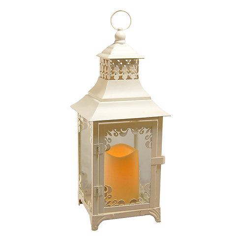 Metal Lantern w/LED Candle - White Swirl Detail