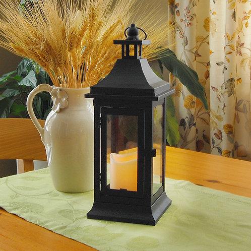 Metal Lantern w/LED Candle - Small Classic - Matte Black