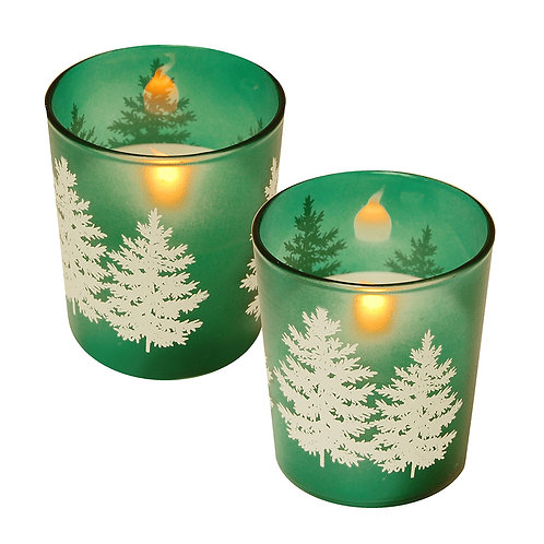 LED Glass Wax Candles - Pines Trees (set of 2)