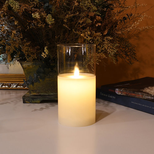 LED Glass Wax Candle - Large Hurricane