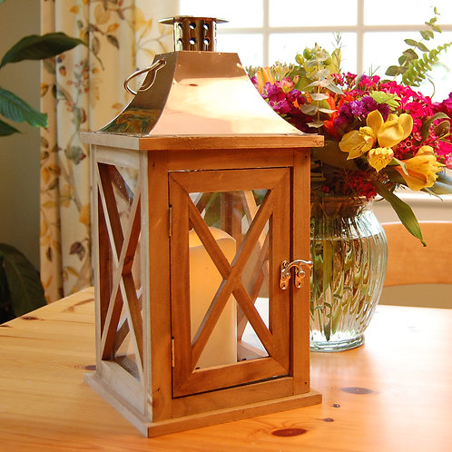 Wooden Lantern in Natural Wood Finish and Copper Roof with Flameless Candle 1ct