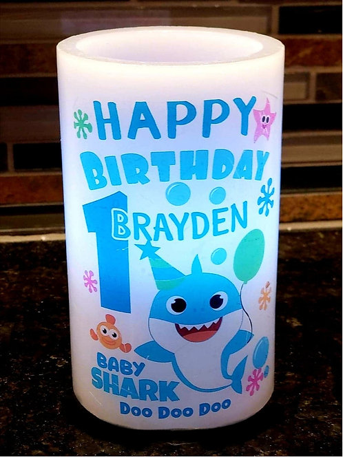 Birthday Baby Shark Color Changing Candle