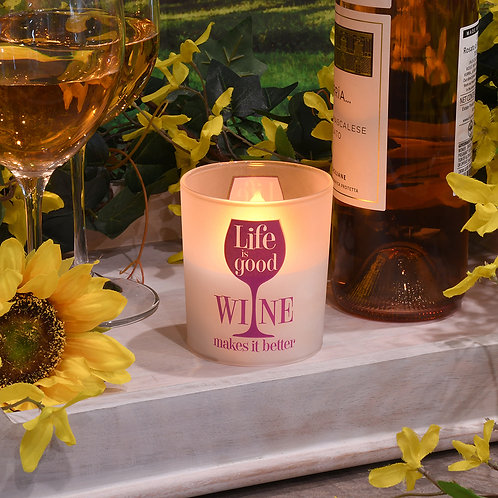 LED Glass Wax Candles - Life-Wine (set of 2)