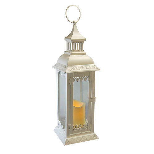 Metal Lantern Leaf Design with Flameless Candle 1ct