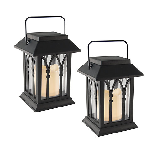 Solar Mini Lanterns w/ LED Candle - Black 2ct