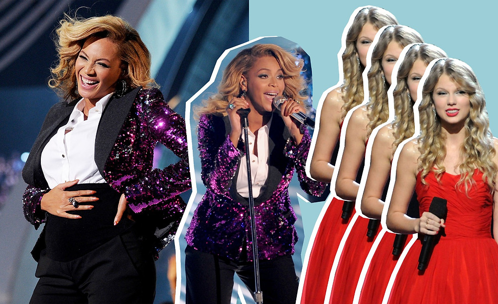 Beyonce, Taylor Swifts images via