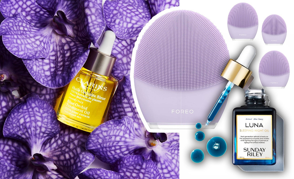 Clarins, Foreo, Sunday Riley, images via Clarins, Feel Unique, Cult Beauty