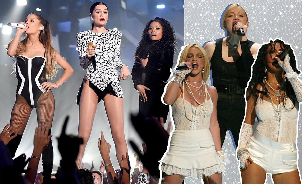 Madonna, Missy Elliott, Britney Spears & Christina Aguilera, Jessie J, Ariana Granda, Nicki Minaj, images via MTV, Getty