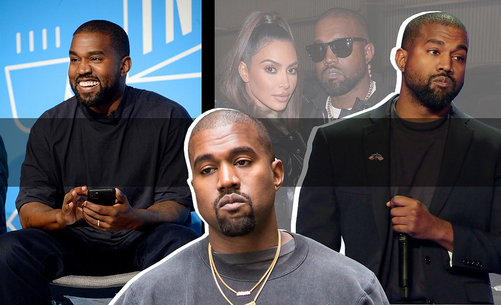 Kanye West and Kim Kardashian West images via Getty and Shutterstock