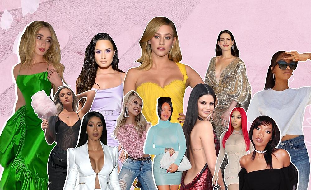 Anne Hathaway, Cardi B, Rihanna, Loren Grey, Lili Reinhart, Sabrina Carpenter, Selena Gomez, Nicki Minaj, Gabby Douglass, Allisa Violet, Brandy Norwood