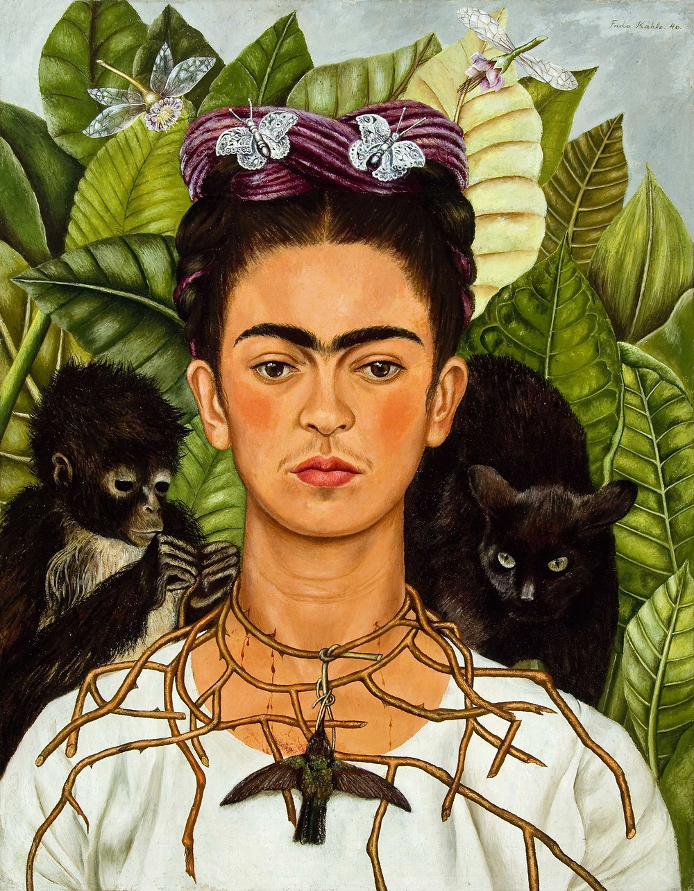 Self-Portrait with Thorn Necklace and Hummingbird, Frida Kahlo