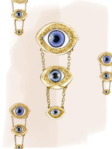 INÉS FIGAREDO multiple eye brooch