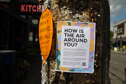Participant recruitment flyer on street posts in dense public areas.