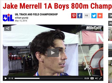 Jake Merrell 1A Boys 800m Champ