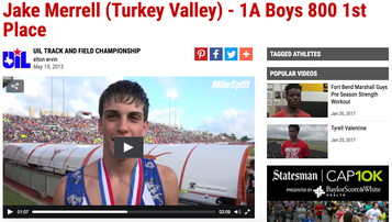 Jake Merrell 1A Boys 800 1st Place