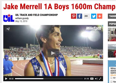 Jake Merrell 1A Boys 1600m Champ