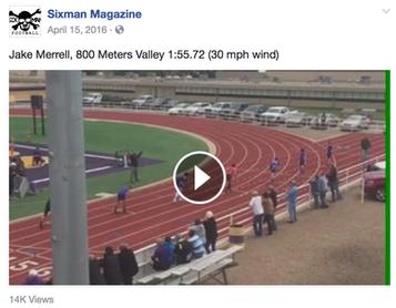 Jake Merrell, 800 Meters Valley 1:55.72 (30 mph wind)