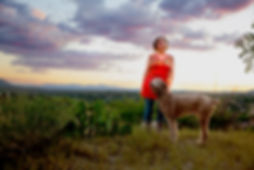 Author Nikki Broadwell and her dog during Arizona sunset.