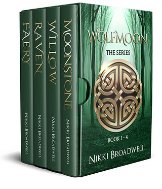 Celtic Fantasy 3D Series Book Cover for The Wolfmoon Series by author Nikki Broadwell