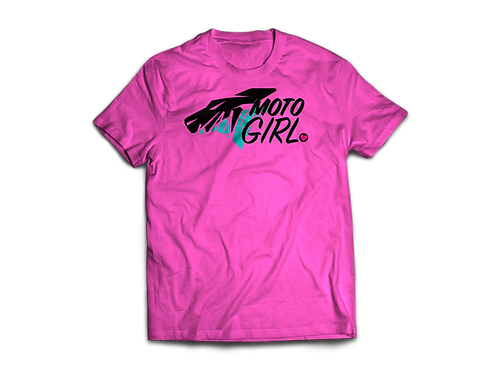 WOMAN KR MOTO GIRL PINK/BLACK TEE