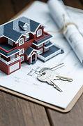 villa-house-model-key-drawing-retro-desk